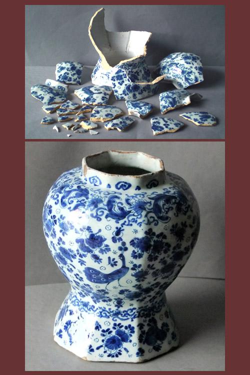 Antique English Delft Ware ginger jar