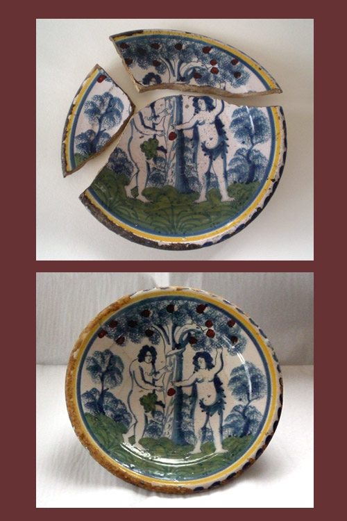 Adam and Eve Tinglaze Dish