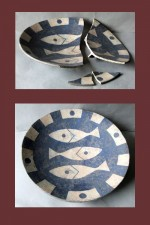 pottery dish needing reassembly, colour filling & retouching.
