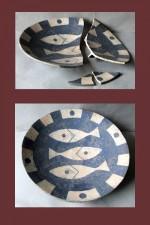 pottery dish needing reassembly, colour filling & retouching.