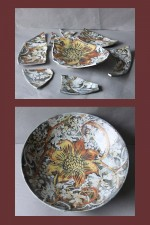 Studio Pottery Dish with wax resist decoration
